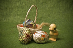 Easter composition. With eggs and a duckling Stock Photos