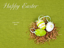 Easter composition. Nest with three colorful eggs on a green flax background Stock Photos