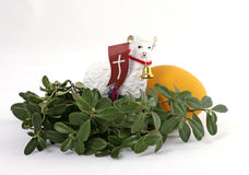 Easter composition. The Easter lamb with green twig Royalty Free Stock Images