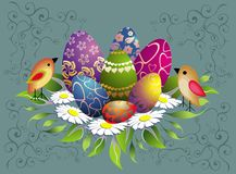 Easter composition with birds Royalty Free Stock Images