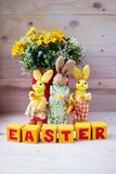 Easter composition. With bunnies, eggs, flowers and diced Royalty Free Stock Photos
