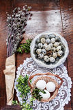 Easter composition of catkins, eggs and cress on wooden table Royalty Free Stock Photo