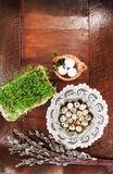 Easter composition of catkins, eggs and cress on wooden table Stock Photos