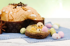 Easter  composition with chicken and dove cake Stock Image