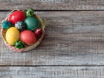 Easter Composition with chicken and quail eggs on the Warm Woode Royalty Free Stock Photo