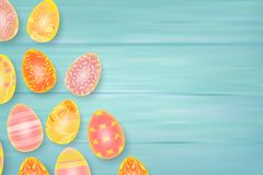 Easter composition with chocolate eggs on color wooden background, space for text. 3d render realistic vector. Illustration Royalty Free Stock Photos
