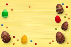 Easter composition with chocolate eggs on color wooden background, space for text. 3d render realistic vector. Illustration Stock Photography