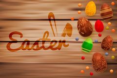 Easter composition with chocolate eggs on wooden background, space for text. 3d render realistic vector illustration. Easter composition with chocolate eggs on Royalty Free Stock Images