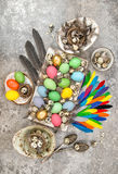 Easter composition colored eggs and birds feather Royalty Free Stock Image