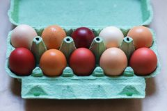 Easter composition with colored eggs stock photo