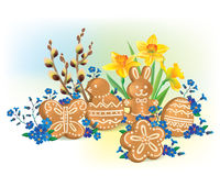 Easter composition of cookies and flowers Stock Image