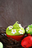 Easter composition with cupcakes Royalty Free Stock Photo