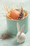 Easter composition with decorative rabbit, egg Stock Images