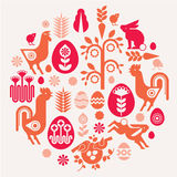 Easter composition. Decorative composition with easter symbols in a shape of circle royalty free illustration