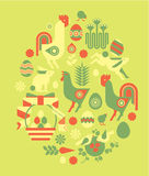 Easter composition. Decorative composition with easter symbols in a shape of egg vector illustration