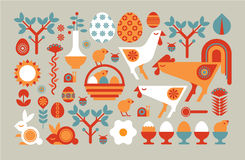 Easter composition. Decorative composition with easter symbols in a shape of rectangle royalty free illustration