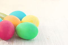Easter composition. Easter eggs. Easter composition. Easter eggs on the table Stock Photos