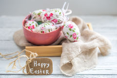 Easter composition with eggs in a bowl stock photo