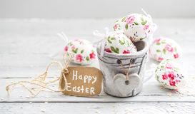 Easter composition with eggs in a bucket Stock Photography