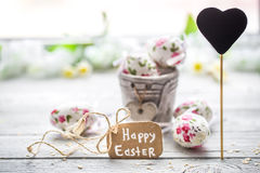 Easter composition with eggs in a bucket Stock Image