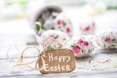 Easter composition with eggs in a bucket Royalty Free Stock Images