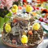 Easter composition with eggs and chickens. Royalty Free Stock Images
