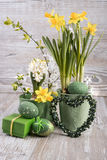 Easter composition with eggs and daffodils Stock Images