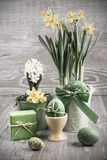 Easter composition with eggs and daffodils Royalty Free Stock Image