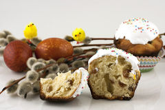 Easter composition with eggs and easter cake Royalty Free Stock Photos