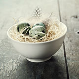Easter composition with eggs and nest Stock Image