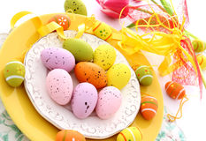Easter composition of eggs on plate Stock Photography