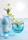 Easter composition with eggs and spring flowers Stock Image