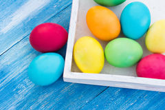Easter composition. Easter eggs  on the table Stock Images
