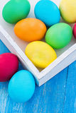 Easter composition. Easter eggs on the table Stock Photos