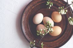 Easter composition of eggs and twigs with blossoms on a plate. royalty free stock image