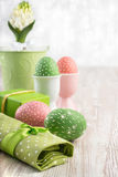 Easter composition with eggs and white hyacinthus Stock Images