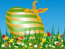 Easter composition with the hare Stock Photography