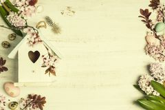 Easter composition with flowers Royalty Free Stock Images