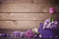 Easter composition on old wooden background. The Easter composition on old wooden background Royalty Free Stock Photography