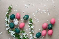 Easter composition with painted eggs Stock Photo