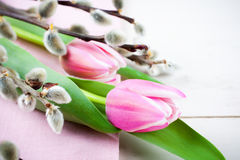 Easter composition with pink tulips Stock Photography
