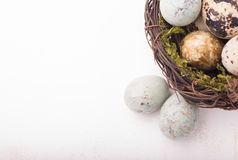 Easter composition with quail eggs in basket on a wooden backrou. Nd. Top view. Holiday card royalty free stock images