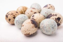 Easter composition with quail eggs on a wooden backround. Top vi. Ew. Holiday card stock photos