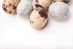 Easter composition with quail eggs on a wooden backround. Top vi. Ew. Holiday card stock photography