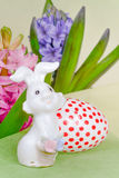 Easter composition with rabbit and egg Stock Images