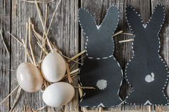 Easter composition with rabbit and eggs Royalty Free Stock Image