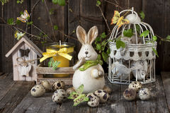 Easter composition with rabbit and eggs Stock Photos