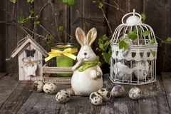 Easter composition with rabbit and eggs Royalty Free Stock Images