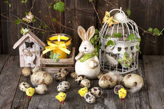 Easter composition with rabbit and eggs Royalty Free Stock Photo