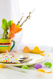 Easter composition table tableware person Royalty Free Stock Photos